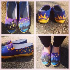 Disney's Tangled hand painted canvas shoes from Soleful Xpressions.  Find us on Facebook.  Custom made to order.