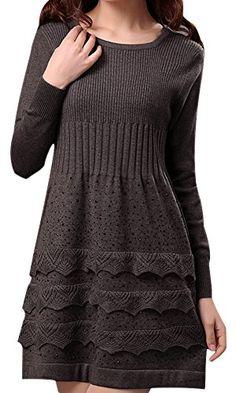VonFon Womens Long Sleeve Slim Fit Knitted Sweater Bottoming Shirt Knitted Dresses Khaki Vonfon http://www.amazon.com/dp/B00NPMUKPK/ref=cm_sw_r_pi_dp_StDpub0E70A4W