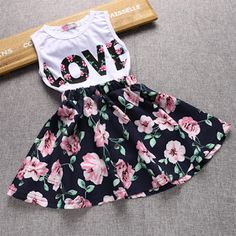 Girls Sets Summer Clothing Two Piece Sets Print LOVE Sleeveless TopFloral Skirt Kids Suits Children cloth