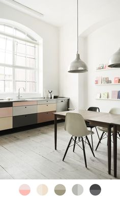 I want to live here… Because this floor is perfect with the color blocked kitchen. Image: Heidi Lerkenfeldt via The Design Chaser