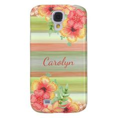 Custom Coral Red Lime Green Watercolor Floral Galaxy S4 Case - red gifts color style cyo diy personalize unique