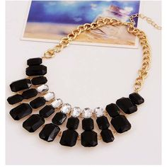 Black Square Gemstone Chain Link Statement Necklace ($13) ❤ liked on Polyvore featuring jewelry, necklaces, black, chain link necklace, bib statement necklace, gem jewelry, fake jewelry and imitation jewelry