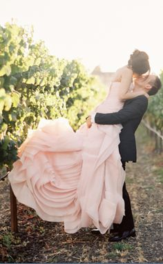 What gorgeous layers! Blush pink wedding dress #weddingdress #blushpink  #blushpinkwedding #bridaldress #bride