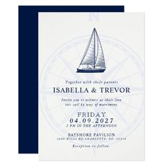 Love Sets Sail | Nautical Wedding Solid Navy Invitation