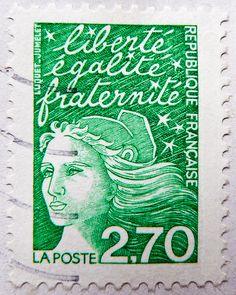 """Stamp - France postage 2.70 F Franc Marianne """"Luquet"""" liberté egalité"""