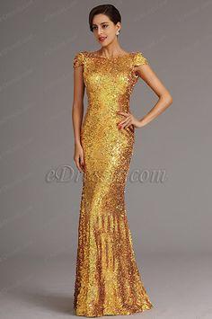 Vestido de Dama de Honor Lentejuela Diseño Simple(X07160359)