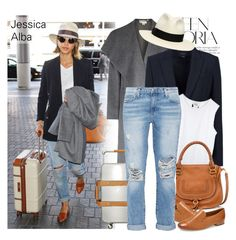 """""""Celebrity Look: Jessica Alba"""" by monmondefou ❤ liked on Polyvore featuring Victoria Beckham, pureDKNY, Theory, Chloé, Paul Green, Current/Elliott, Borsalino, celebrity, airportlook and jessicaalba"""