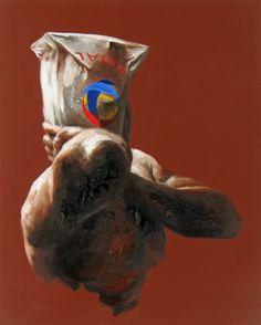 """Xavier Jallais - """"Automorphie au sac Total"""" (2012) - Wood coal, ash, sand, acrylic & oil on canvas, 65 x 81 (cm) Lion Sculpture, Statue, Bag, Paint, Canvas, Sculpture"""