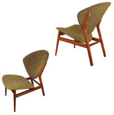 Pair Sculptural Lounge Chairs in the Style of Hovmand Olsen, 1950s Danish Modern