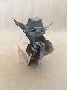 """Fossil""Origami Jedi Master Yoda Designed by Origami Yoda, Paper Folding, Kirigami, My Works, Starwars, Kids Playing, Fossil, Bird, Design"