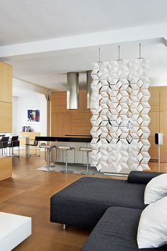 Divide Your Living room, Dining Room & Kitchen In Style with Suspended Divider Facet. #suspended #divider #screen #facet #hanging #separation #transparent #white #design #kitchen #livingroom #diningroom