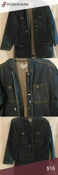 Jean jacket, denim w/hood, pockets Denim jacket 14/16 plus with hood and pockets, button up. Good shape. On the long side, coves hips LA Blues Jackets & Coats Jean Jackets