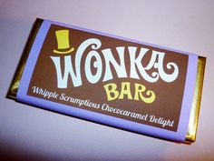 Wonka Bar labels Wonka Bar candy bar label Willy Wonka birthday party Charlie and the Chocolate Factory party favor DiY digital PDF file ReD – food types Candy Bar Wrapper Template, Candy Bar Labels, Candy Bar Wrappers, Sweet Wrappers, Jar Labels, Willy Wonka, Chocolate Delight, Birthday Party Favors, Birthday Candy