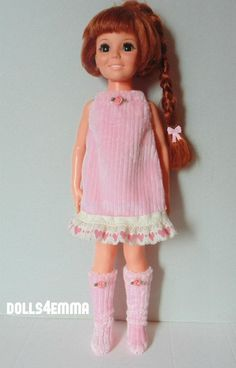 PRETTY IN PINK - Pink DRESS w/hearts and fuzzy BOOTS for Crissy