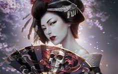 Fantasia japonês menina, gueixa, quimono, ventilador de papel, crânio