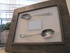 """Great wedding gift for the bride and groom.  """"Spooning since 2010"""" metal-stamped DIY wall art"""