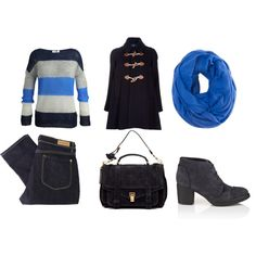 Blue style  Love the sweater from Esprit ... Love this whole outfit!