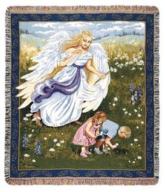 Vigilant Angel Inspirational Tapestry Throw Engraved Gifts, Personalized Gifts, First Communion Gifts, Photo Blanket, Easter Gift, Photo Jewelry, Decorating Your Home, Baby Shower Gifts, Photo Gifts