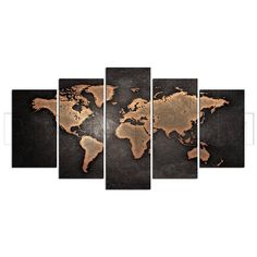Scratched Vintage Abstract World Map Canvas Print Gift 5