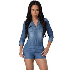 BENNINGCO Womens Fashion Country Way Denim Shirt Romper at Amazon Women s  Clothing store  fad790db00aa