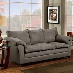 Elegant design and chic styling, along with comfortable feel are the hallmarks of this microfiber sofa. Roomy and invitingly plush armrests, cushions and seat-backs make this sofa cozy as well as appealing. Quality craftsmanship in every detail ensures comfort and durability. This sofa incorporates solid hardwoods, sinuous spring cushioning and high density padding for that bounce back feel every time you sit. This sofa is the perfect choice in fine furnishings and will be a winning addition…