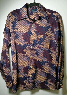 Super Sexy Soft Vintage Joe Namath Arrow Retro Modern Geometric Artistic Disco Rave Party Long Sleeve Button Down Shirt MED $88 with FREE PRIORITY SHIPPING SAME DAY IF PURCHASE IS MADE BY NOON CST @ www.iBidBuyShip.com!