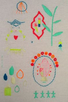 Leonor Barreiro stitching in bright colors
