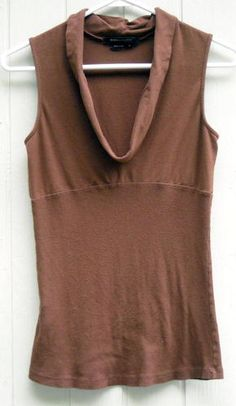 BCBGMAXAZRIA Soft Brown Cowl Neck Rib Knit Top Size M Free Shipping in the USA Price:US $13.99