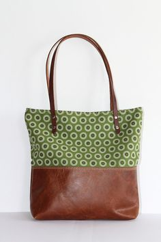 Saddle Brown Leather Tribal Tote Bag with Green African Shweshwe, Christmas Gift for her || The Ana Tote