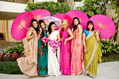 gorgeous mismatched saris & hot pink parasols for the bridesmaids at this Indian wedding in California Bridesmaid Saree, Indian Bridesmaids, Mismatched Bridesmaid Dresses, Bridal Dresses, Summer Wedding, Dream Wedding, Fantasy Wedding, Bridal Musings, Alternative Wedding