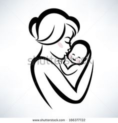 mom and baby vector icon