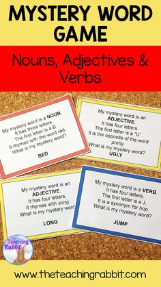 Nouns, Adjectives and Verbs Game Adjective Games, Verb Games, Adjective Words, Nouns And Adjectives, Synonyms And Antonyms, Grammar Skills, Grammar Lessons, Language Study, English Language