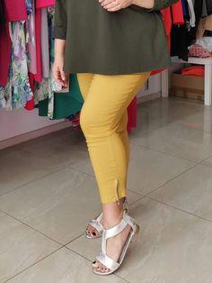 Spodnie z bengaliny Cevlar B04 kolor musztarda miodowa - Big Sister