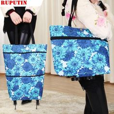 09ade492c3 RUPUTIN New High Capacity Shopping Food Organizer Trolley Bag On Wheels Bags  Folding Portable Shopping Bags