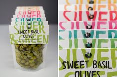 Olive packaging designed by Salad Creative for Mediterranean delicacy producer, importer and wholesaler Silver and Green.