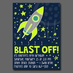 Rocket Man Printable DIY Party Invitation 5x7 by oneswellstudio, $12.50