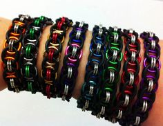 Chain Maille Stretchy Bracelet (Shiny Finish) Color on Large Rings