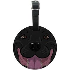 Pit Bull Face Black Pet Dog Round Leather Luggage ID Tag Suitcase Carry-On, Multicolor