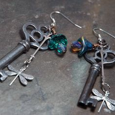 Dragonflies AND keys! I would like this on a necklace instead of earrings.