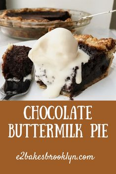 The first time I made this Chocolate Buttermilk Pie, it cracked down the middle just minutes after it came out of the oven. I have a history of making ugly pies (my motor skills leave something to… Pie Recipes, Sweet Recipes, Dessert Recipes, Just Desserts, Delicious Desserts, Yummy Food, Fancy Desserts, Chocolate Pies, Chocolate Buttermilk Pie Recipe