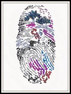 *Fingerprint Art Project* Use black stamp pad to collect students' fingerprints . Scan in & enlarge to full sheet size . Print a super-lightened image (Lightening original 90% worked great for me!) . Have students write about themselves, their lives, favorite quotes & sayings, positive things . Tada!  Beautiful Artwork :) (By Caitie Lou Riddle)