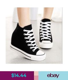 sale retailer da27b bfdd9  14.27 - Womens Canvas Hidden Wedge High Top Lace Up Fashion Sneakers Casual  Comfy Shoes