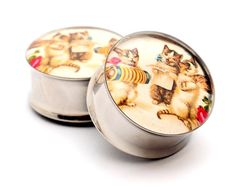Vintage Musical Cats Picture Plugs gauges  by mysticmetalsorganics, $19.99