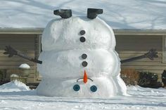 Winter has turned Ohio upside down! A North Olmsted family built this fun snowman