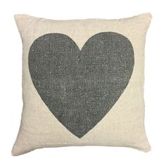 Black heart linen pillow - Sugarboo Designs