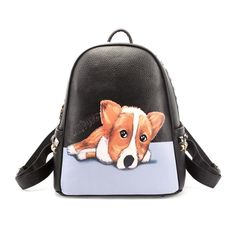 Leather Cartoon Dogs Collection Backpack Daypack Bag Women
