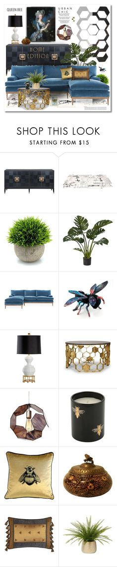 """Bee Inspired #savethebees Spring 2018"" by esch103 ❤ liked on Polyvore featuring interior, interiors, interior design, home, home decor, interior decorating, Mogg, Varaluz, Timorous Beasties and Maitland-Smith"