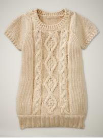 Baby Gap Cable Knit dress - I could probably figure out how to make this. Girls Knitted Dress, Knit Dress, Sweater Dresses, Knitting For Kids, Baby Knitting, Baby Tights, Baby Boots, Pull Long, Lace Leggings