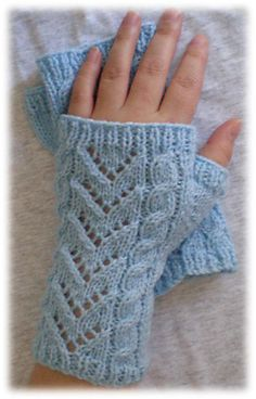 Cable & Lace Wrist Warmers [knit fingerless cables lace]