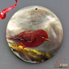 HAND PAINTED RED BIRD MOTHER OF PEARL SHELL NECKLACE PENDANT ZL30 06208 #ZL #PENDANT